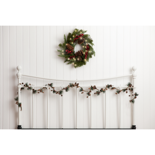 Christmas Bed Head Photography Backdrop